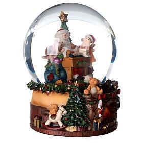 Sfera di vetro neve con Babbo Natale e giocattoli 15 cm s3