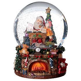 Sfera di vetro neve con Babbo Natale e giocattoli 15 cm s4