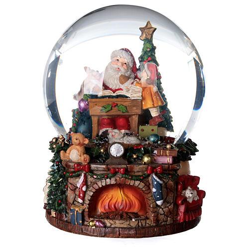 Sfera di vetro neve con Babbo Natale e giocattoli 15 cm 1