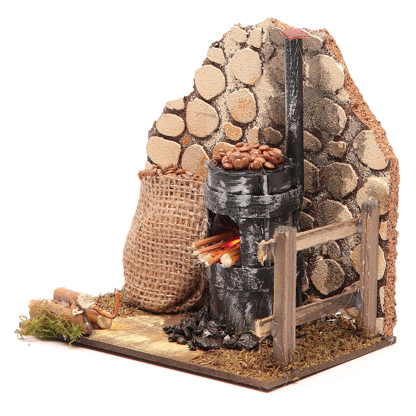 Chestnut seller furnace with 2 battery led lights 15x15x10 cm 4
