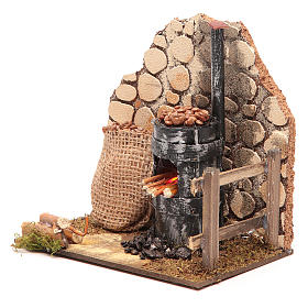 Chestnut seller furnace with 2 battery led lights 15x15x10 cm s2