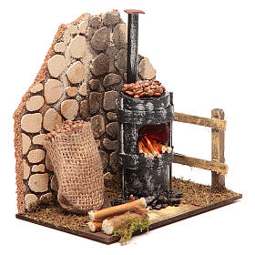 Chestnut seller furnace with 2 battery led lights 15x15x10 cm s3