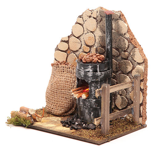 Chestnut seller furnace with 2 battery led lights 15x15x10 cm 2