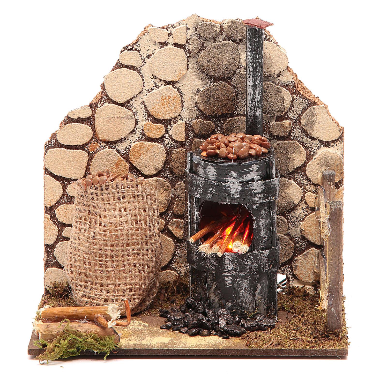 Chestnut seller furnace with 2 battery led lights 15x15x10 cm 4