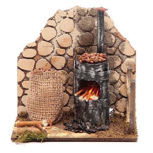 Chestnut seller furnace with 2 battery led lights 15x15x10 cm 1