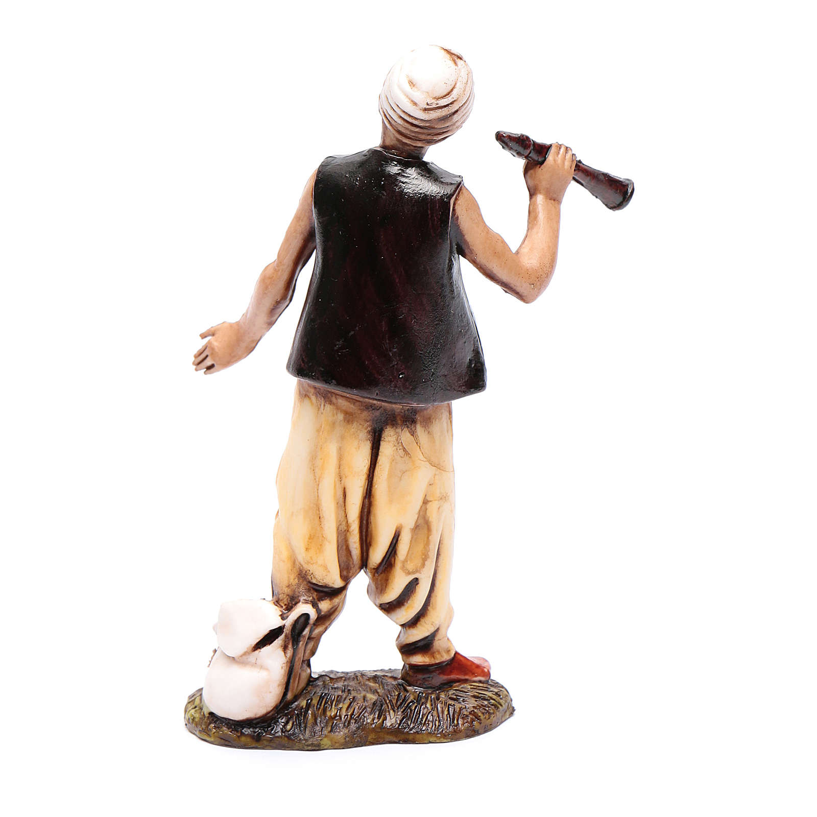 Hombre del medio-este con flauta 10 cm Moranduzzo estilo siglo XVIII 4