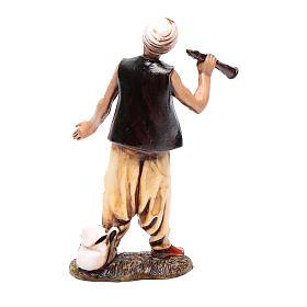 Homme avec turban et flûte 10 cm Moranduzzo style XVIII s2