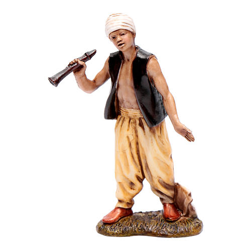 Homme avec turban et flûte 10 cm Moranduzzo style XVIII 1