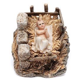Gesù bambino con culla resina 15 cm Moranduzzo s1