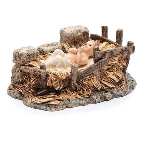 Gesù bambino con culla resina 15 cm Moranduzzo 2