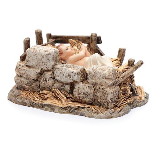 Gesù bambino con culla resina 15 cm Moranduzzo 3