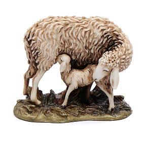 Pecora e agnellino 15 cm resina Moranduzzo s1