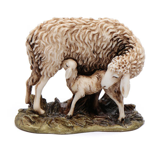 Pecora e agnellino 15 cm resina Moranduzzo 1