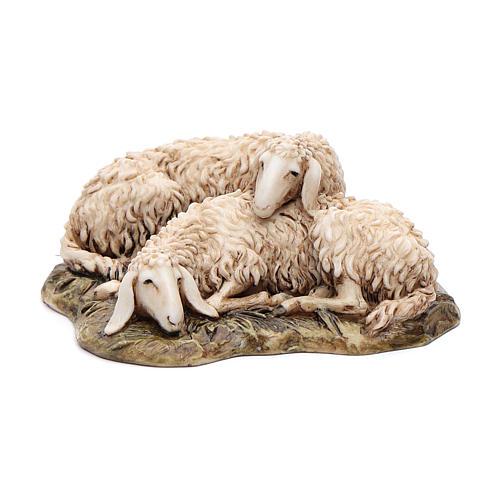Pecore sdraiate 15 cm resina Moranduzzo 1