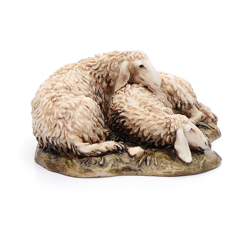 Pecore sdraiate 15 cm resina Moranduzzo 2