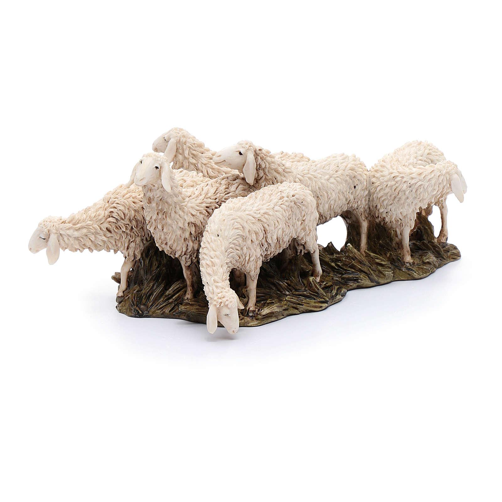 Gregge 6 pecore 15 cm resina Moranduzzo 4