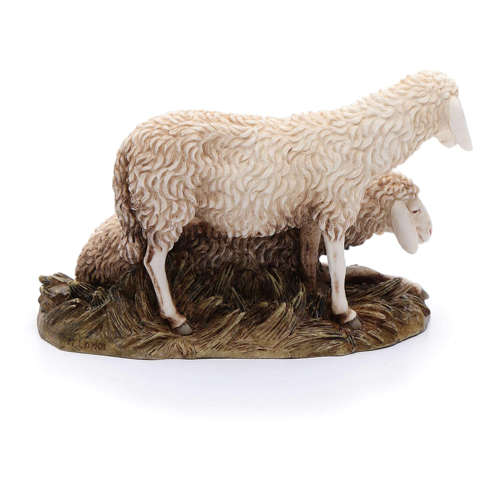 Gruppo 2 pecore 20 cm resina Moranduzzo 4