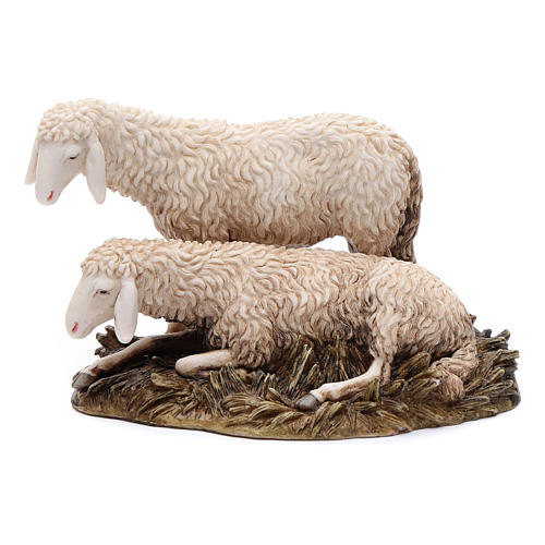 Gruppo 2 pecore 20 cm resina Moranduzzo 1