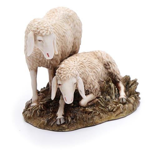 Gruppo 2 pecore 20 cm resina Moranduzzo 2