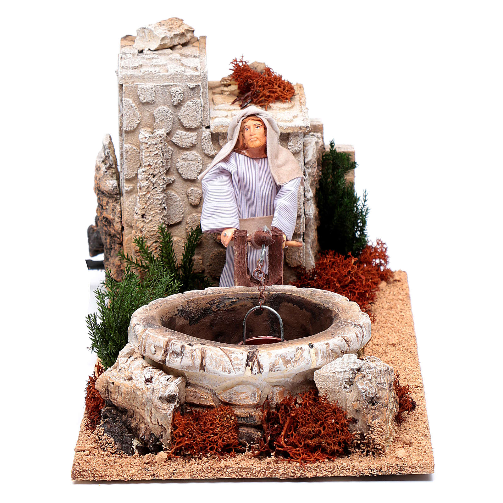 Man at the well for nativity scene 12 cm with movement 3