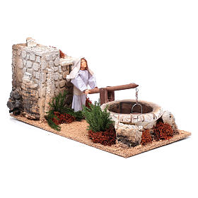 Man at the well for nativity scene 12 cm with movement s3