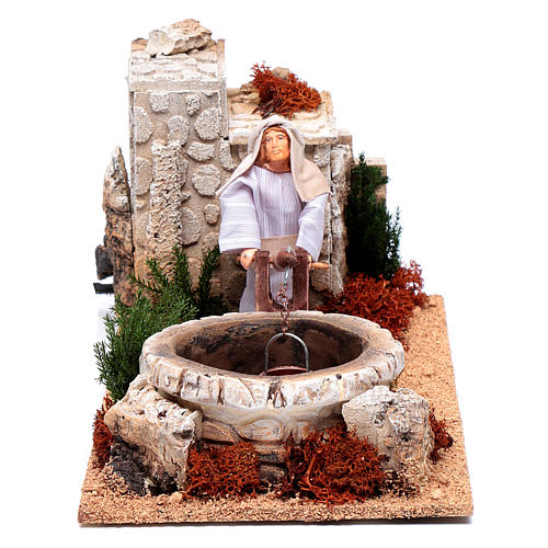 Man at the well for nativity scene 12 cm with movement 1