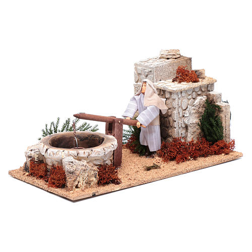 Man at the well for nativity scene 12 cm with movement 2