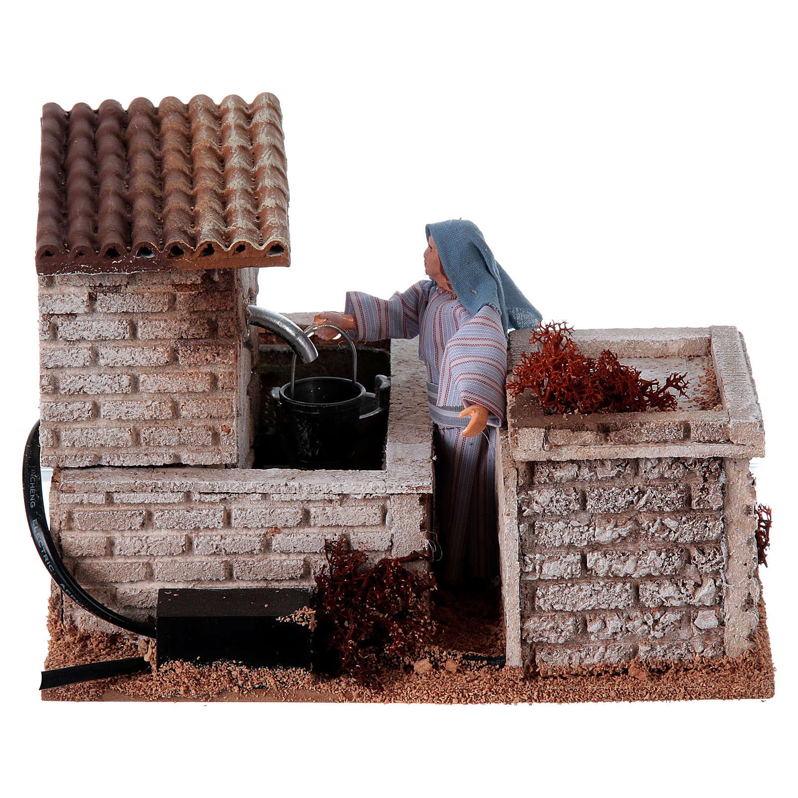 Mujer con fuente para pesebre 12 cm 3