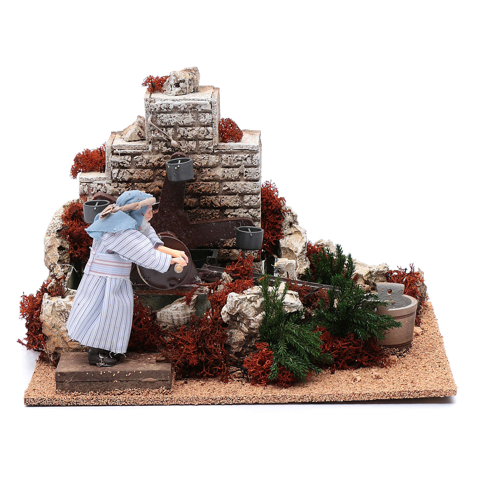 Man with buckets 12 cm with movement for nativity scene 3