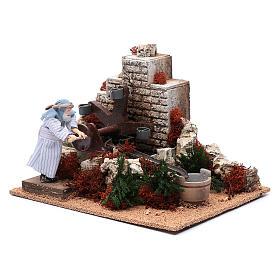 Man with buckets 12 cm with movement for nativity scene s2