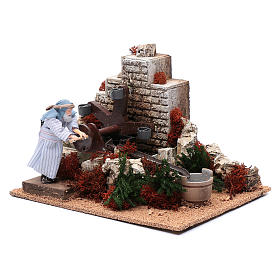 Man with buckets 12 cm with movement for nativity scene s3