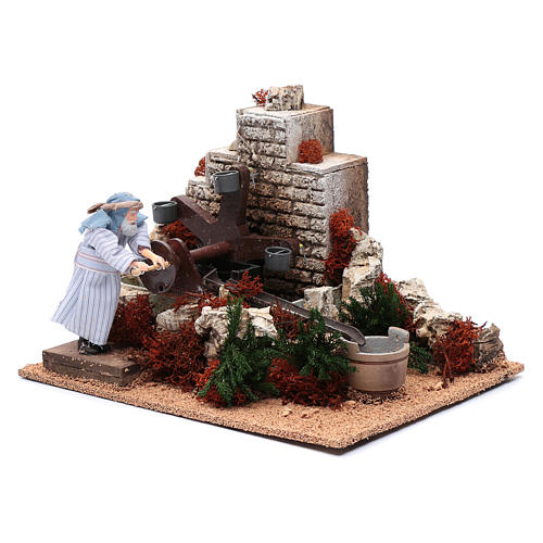 Man with buckets 12 cm with movement for nativity scene 2
