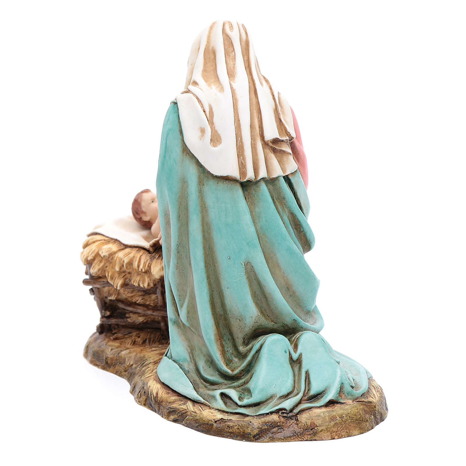 Virgin Mary and Baby Jesus in cradle statues 20 cm Moranduzzo 4