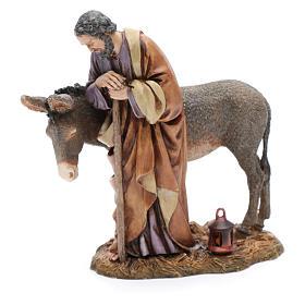 Saint Joseph statue with donkey in resin  20 cm Moranduzzo s4