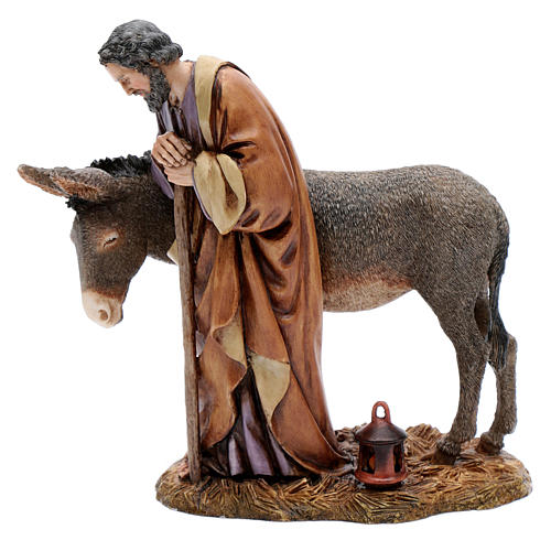 Saint Joseph avec âne résine 20 cm Moranduzzo 1