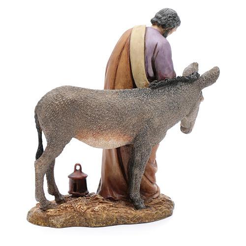 Saint Joseph avec âne résine 20 cm Moranduzzo 3