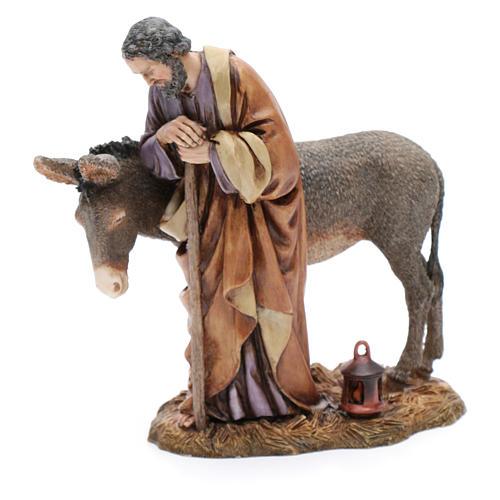Saint Joseph avec âne résine 20 cm Moranduzzo 4