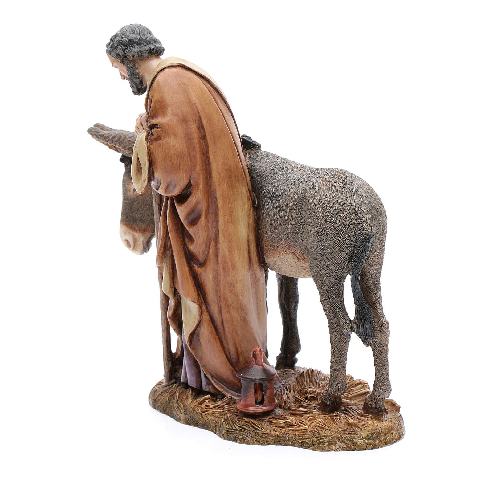 Saint Joseph statue with donkey in resin  20 cm Moranduzzo 4