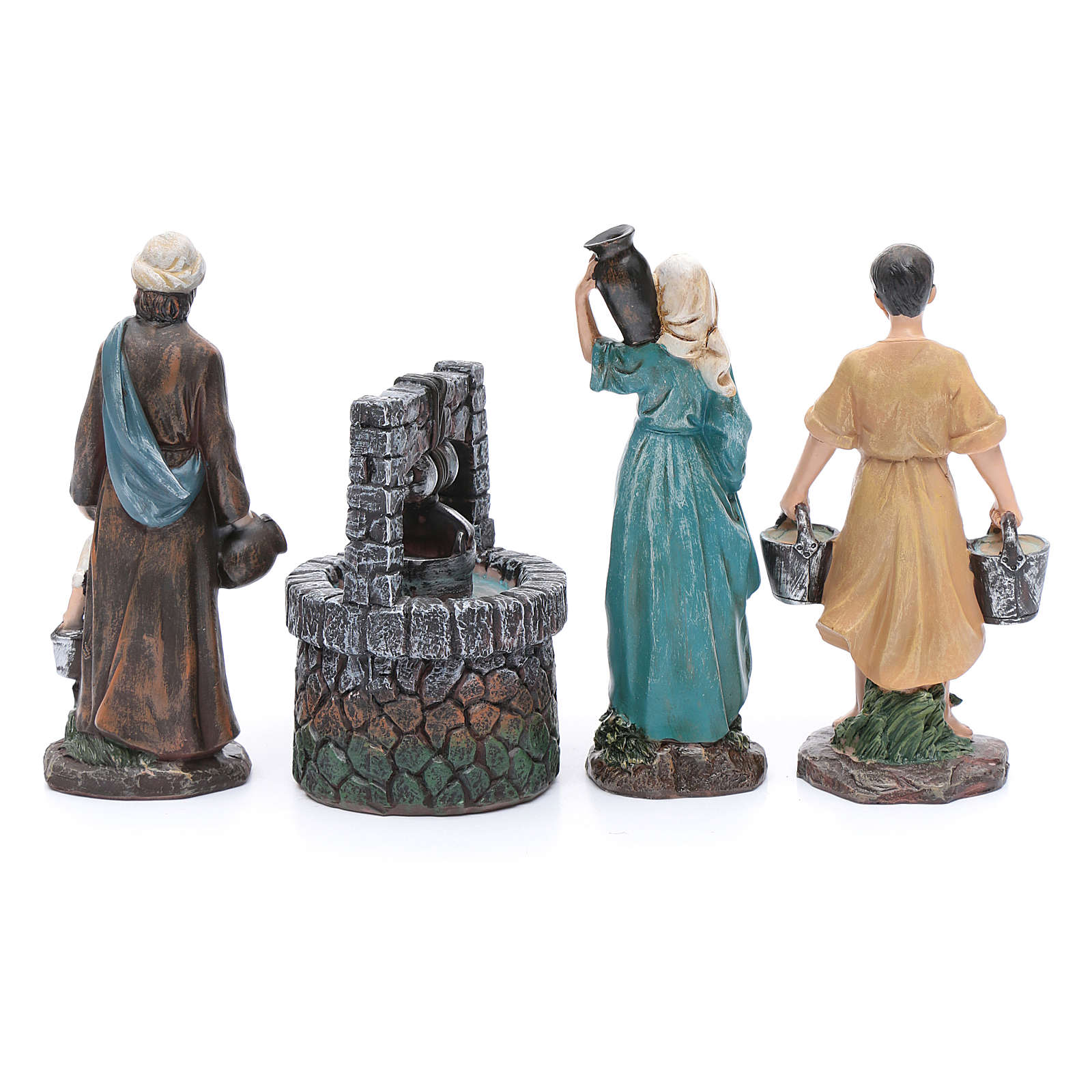 Nativity scene statues shepherds at the well in resin 20 cm 4 pieces 3