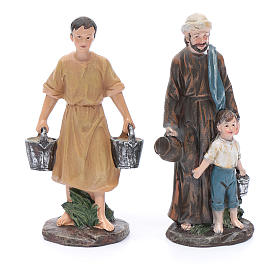 Nativity scene statues shepherds at the well in resin 20 cm 4 pieces s2