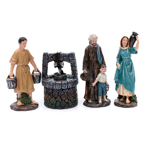 Nativity scene statues shepherds at the well in resin 20 cm 4 pieces 1