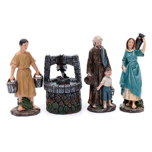 Pastores al pozo de resina para belén de 20 cm set 4 piezas 1
