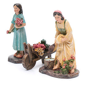 Nativity scene statues florists with cart in resin 20 cm 3 pieces set s2