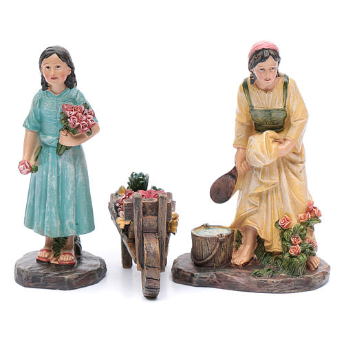 Nativity scene statues florists with cart in resin 20 cm 3 pieces set 1