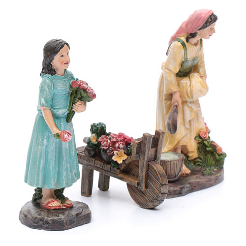 Nativity scene statues florists with cart in resin 20 cm 3 pieces set 3
