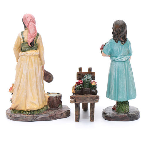 Nativity scene statues florists with cart in resin 20 cm 3 pieces set 4