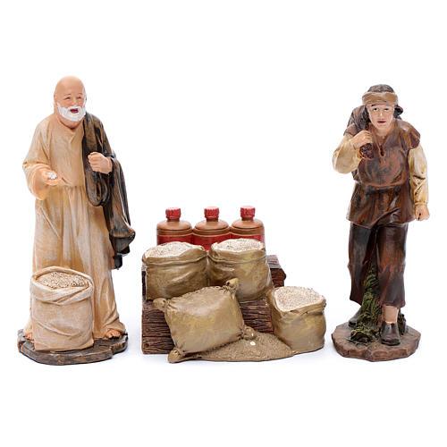 Venditori di farina con banco set 3 pz presepe di 20 cm 1