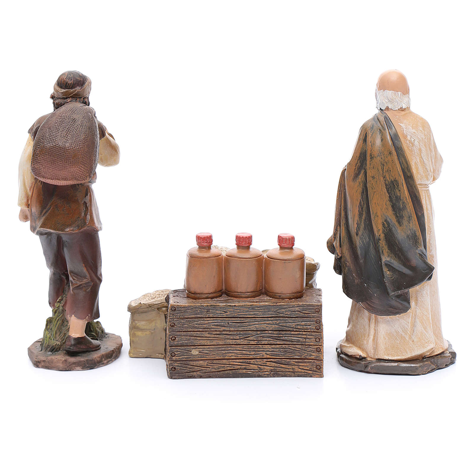 Nativity scene statues flour sellers with counter 20 cm 3 pieces set 3