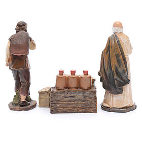 Nativity scene statues flour sellers with counter 20 cm 3 pieces set s3