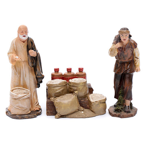 Nativity scene statues flour sellers with counter 20 cm 3 pieces set 1